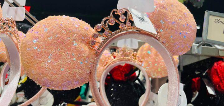 Peach Sequin Minnie Ear Crown Royal Front