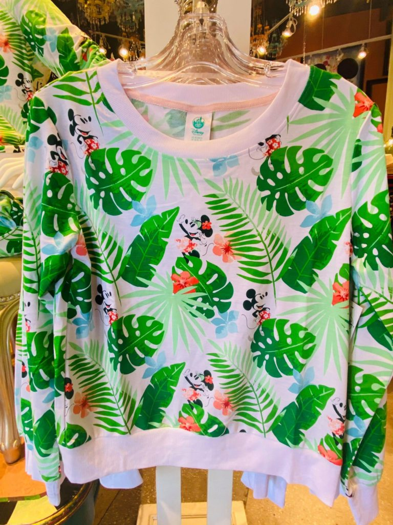 tropical mickey and minnie pullover